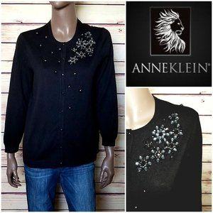Anne Klein Black Bling Knit Jacket